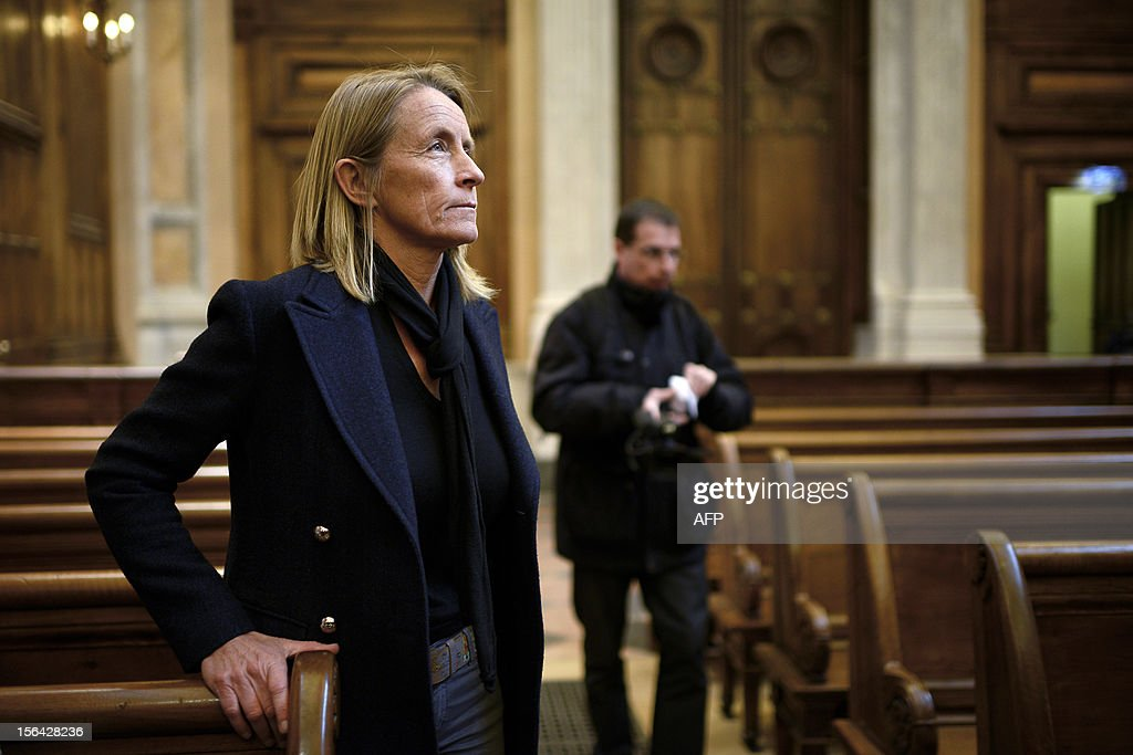 French former tennis player Isabelle Demongeot arrives on November 15, 2012 at the Lyon courthouse, to attend the trial of Regis de Camaret, former tennis coach who appears for rapes on two under-age women, 20 years ago.