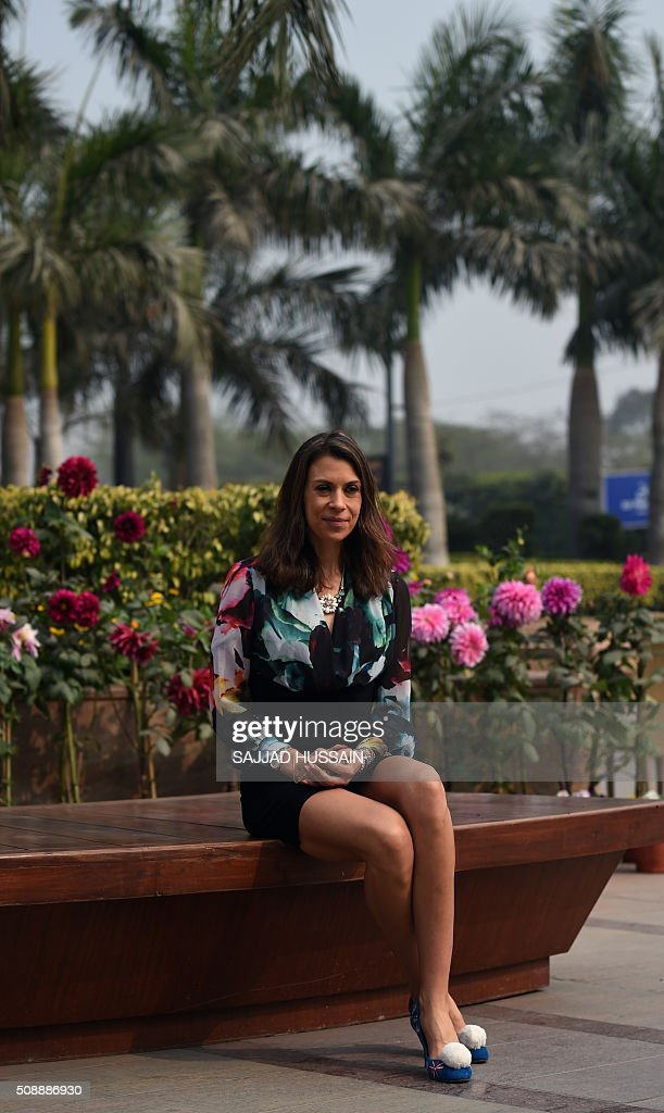 French former tennis player Marion Borteli poses at a shopping mall in New Delhi on February 7, 2016. This year's championship will be played from May 22 to June 5. AFP PHOTO / SAJJAD HUSSAIN / AFP / SAJJAD HUSSAIN