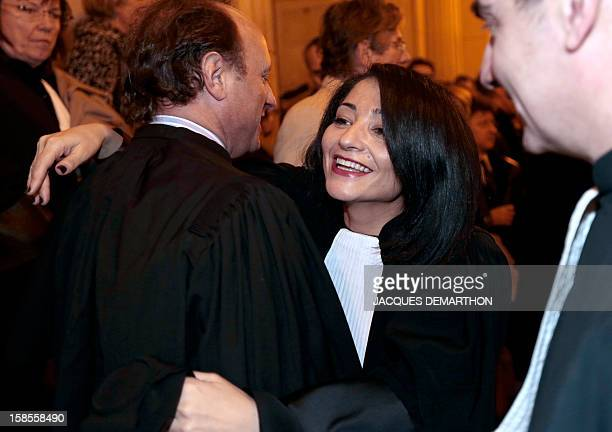 French former Youth and Associations Junior Minister Jeannette Bougrab is congratulated by friends after she takes an oath as lawyer at the Paris...