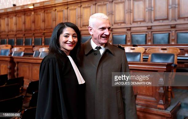 French former Youth and Associations Junior Minister Jeannette Bougrab poses with French General Dary after she takes an oath as lawyer at the Paris...