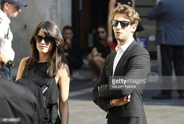 French Formula 1 driver Romain Grosjean and his wife Marion Jolles arrives to attend the funeral of late French Formula 1 driver Jules Bianchi at the...