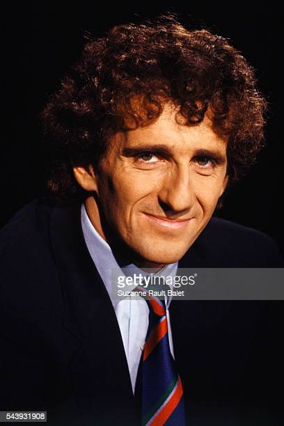 French Formula One driver Alain Prost on the set of TV show '7 sur 7' on TF1
