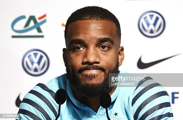French forward Alexandre Lacazette takes part in a press conference on June 5 2015 in ClairefontaineenYvelines two days prior to the friendly...
