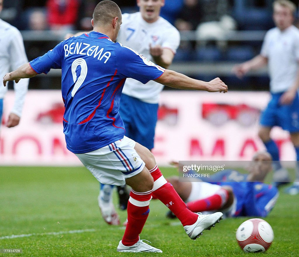 French forward Karim Benzema scores a goal during the Euro 2008 qualifying match France vs Faroe Islands 13 October 2007 at the Torsvollur stadium in...