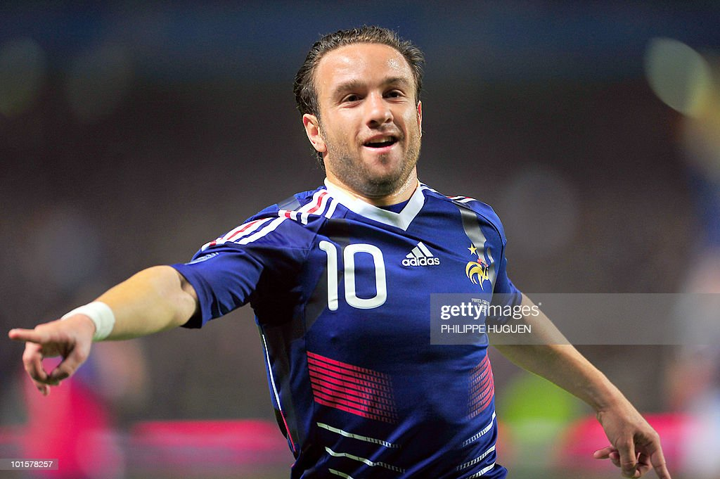 French forward Mathieu Valbuena celebrates after scoring a goal during the friendly football match France vs. Costa-Rica at the Bollaert Stadium in Lens on May 26, 2010 ahead of the FIFA 2010 World Cup in South Africa.