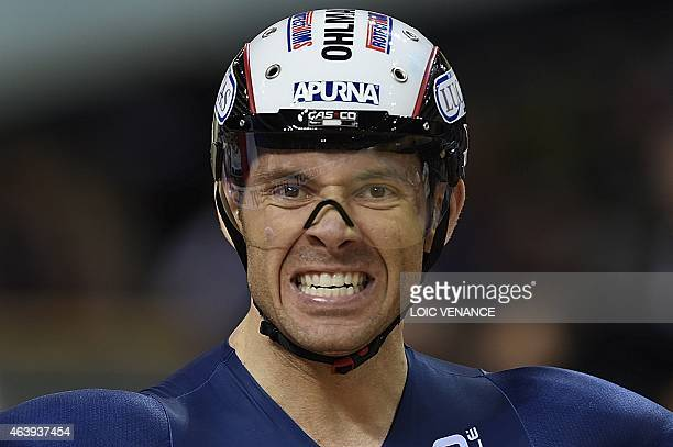 French Francois Pervis celebrates after winning the Men's Keirin Final at the UCI Track Cycling World Championships in SaintQuentinenYvelines near...