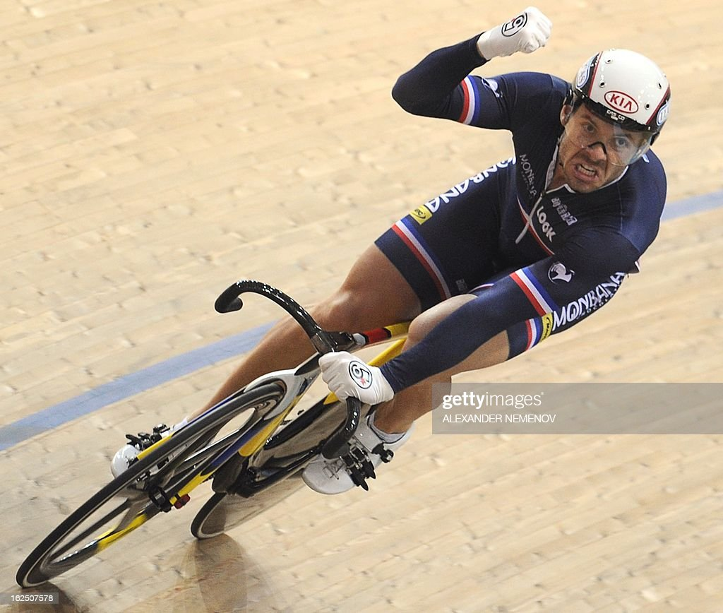 French Francois Pervis celebrates the bronze during Men's Sprint event of the UCI Track Cycling World Championships in Minsk on February 24, 2013.