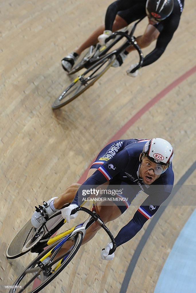 French Francois Pervis competes for the bronze during Men's Sprint event of the UCI Track Cycling World Championships in Minsk on February 24, 2013. AFP PHOTO / ALEXANDER NEMENOV