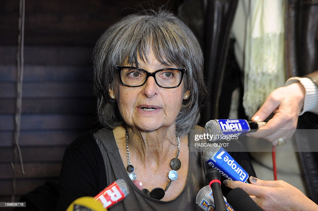 French Françoise Larribe, herself former hostage and wife of Daniel Larribe, one of the four French hostages captured in Niger and detained since 28 months in Mali by AQIM, answers to journalists during a press conference, on January 17, 2013 in Nimes, southern France. The four French hostages were in a group of seven captured in Niger's uranium-mining town of Arlit. The 'Serval' French military operation backing Mali's army in battling Islamist insurgents currently has some 1,400 soldiers deployed, some of whom are engaged in ground operations.