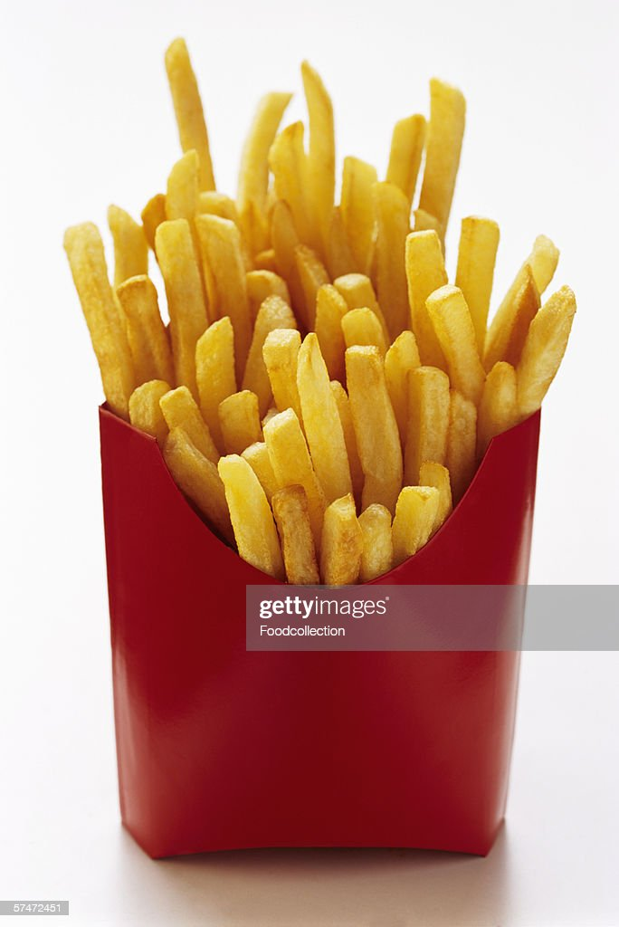 French Fries in Red Fast Food Box : Stock Photo