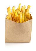 French fries in the paper bag isolated on white background