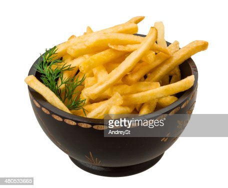 French fries on white background : Stockfoto