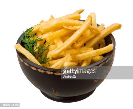 French fries on white background : Bildbanksbilder