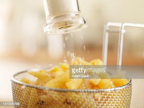 French fries sprinkled with salt