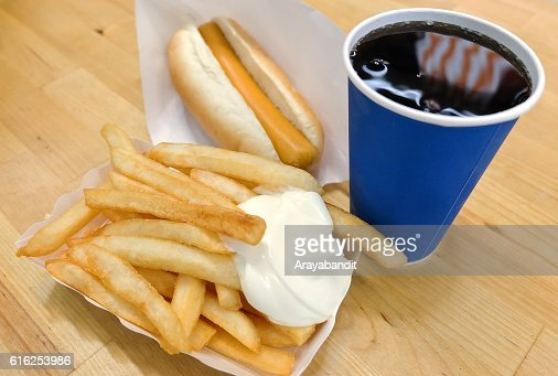 French Fries with Hot Dog and Soda Drinks : Stock Photo