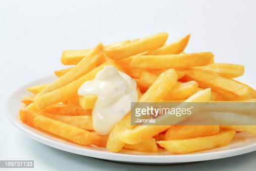 French fries with mayonnaise : Stock Photo