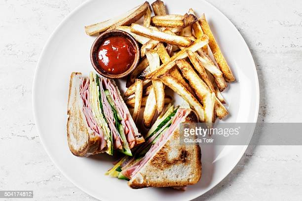 French fries with sandwiches