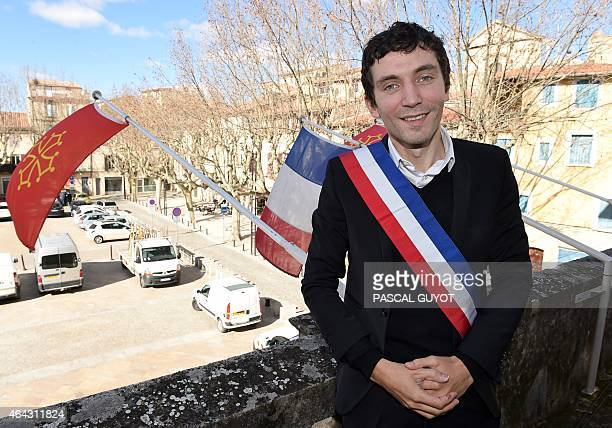 French Front National far right party mayor of Beaucaire Julien Sanchez poses at the balcony of the city hall on February 24 in Beaucaire southern...