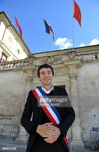 French Front National far right party mayor of Beaucaire Julien Sanchez poses in front of the city hall on February 24 in Beaucaire southern France...