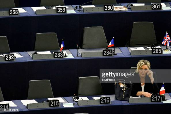 French Front National farright party's President European MP and presidential candidate for the 2017 election Marine Le Pen takes part in a plenary...