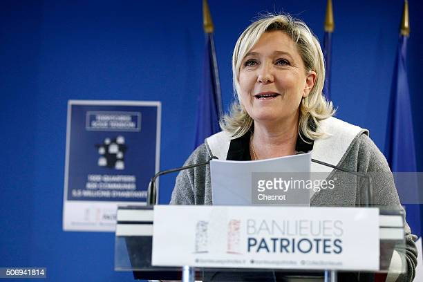 French Front National farright party's President Marine Le Pen delivers a speech during a press conference at the FN headquarters on January 26 2016...