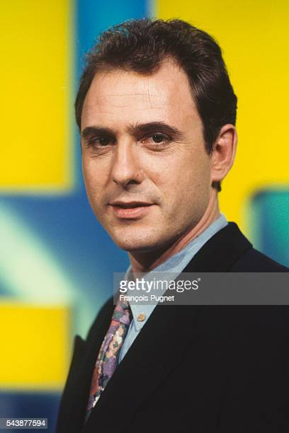 French game show host Philippe Risoli on the set of Jeopardy