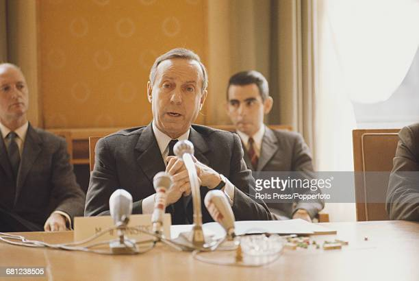 French Gaullist politician and Minister of Defence Michel Debre pictured appearing at a press conference in Paris France on 30th July 1970