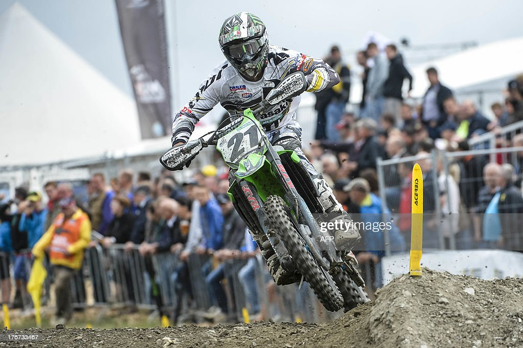 French Gautier Paulin rides during the motocross MX1 Belgian Grand Prix, on August 18, 2013 in Bastogne.