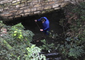 A French gendarme takes part in a search on November 14 2012 in Barjac southern France to find Chloe a 15yearold girl reported missing since November...