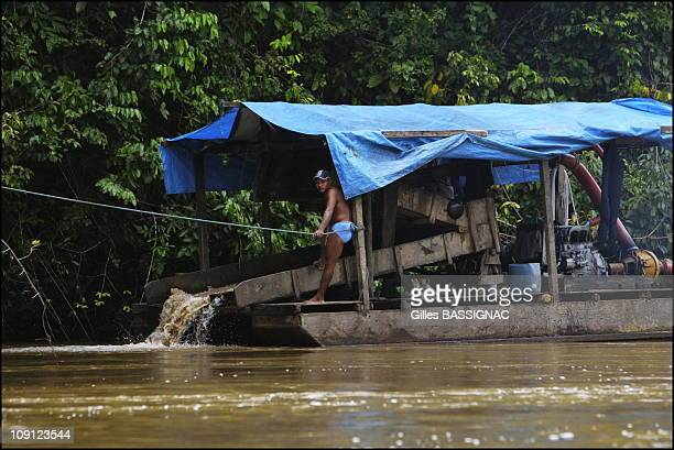 French Gendarmerie Launches Operation Anaconda Against Illegal 'Garimpeiros' From Brazil On July 1 2004 In Guyana Illegal Gold Washers Barges On The...