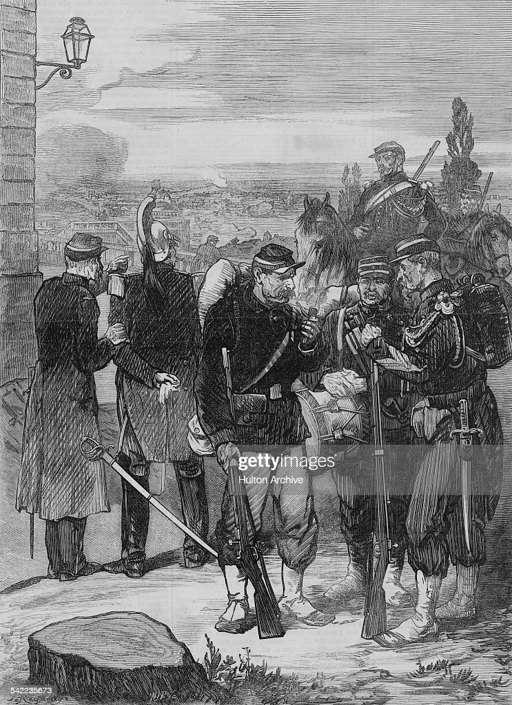 French gendarmes and regular infantry overlook Paris from Meudon during the Siege of Paris during the FrancoPrussian War on 1 January 1871 at Paris...