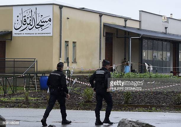 French gendarmes patrol in front of the mosque of Valence southeastern France on January 2 a day after a driver was shot and wounded as he drove a...