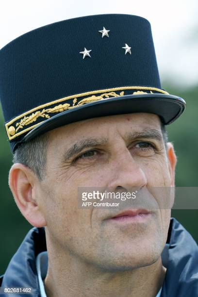 French General Alain Pidoux Commander of the Gendarmerie of the Brittany Region and the Western Defense Zone looks on during a simulation of a terror...