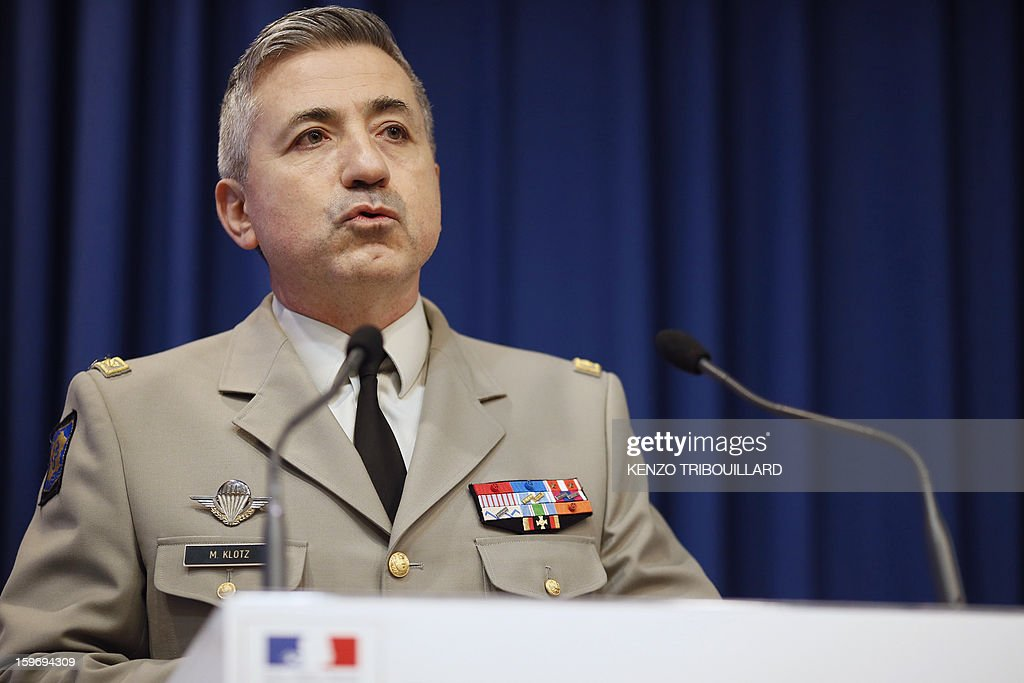 French general and deputy spokesman of French army Martin Klotz gives a press conference on January 18, 2013 in Paris. France confirmed today that Malian troops had taken control of the key central town of Konna from armed Islamists who seized the country's vast desert north in April last year. The town was taken last Friday by Islamist groups, generating fears the capital Bamako could be vulnerable and triggering the French intervention.