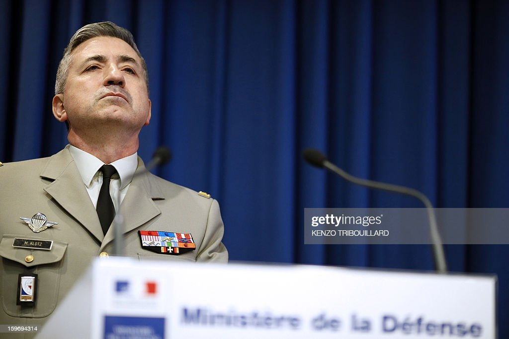 French general and deputy spokesman of French army Martin Klotz takes part in a press conference on January 18, 2013 in Paris. France confirmed today that Malian troops had taken control of the key central town of Konna from armed Islamists who seized the country's vast desert north in April last year. The town was taken last Friday by Islamist groups, generating fears the capital Bamako could be vulnerable and triggering the French intervention.