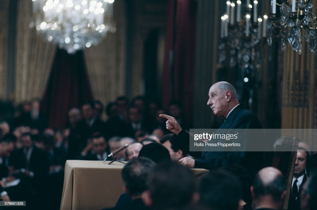 French General and President of France, Charles de Gaulle (1890-1970) pictured conducting a question and answer session during a news conference at the Elysees Palace in Paris on 27th November 1967.