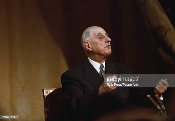 French General and President of France Charles de Gaulle pictured conducting a question and answer session including his views on the enlargement of...