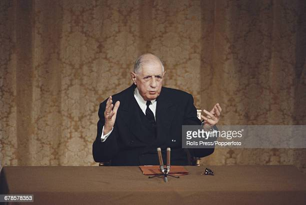 French General and President of France Charles de Gaulle pictured conducting a question and answer session during a press conference at the Elysees...