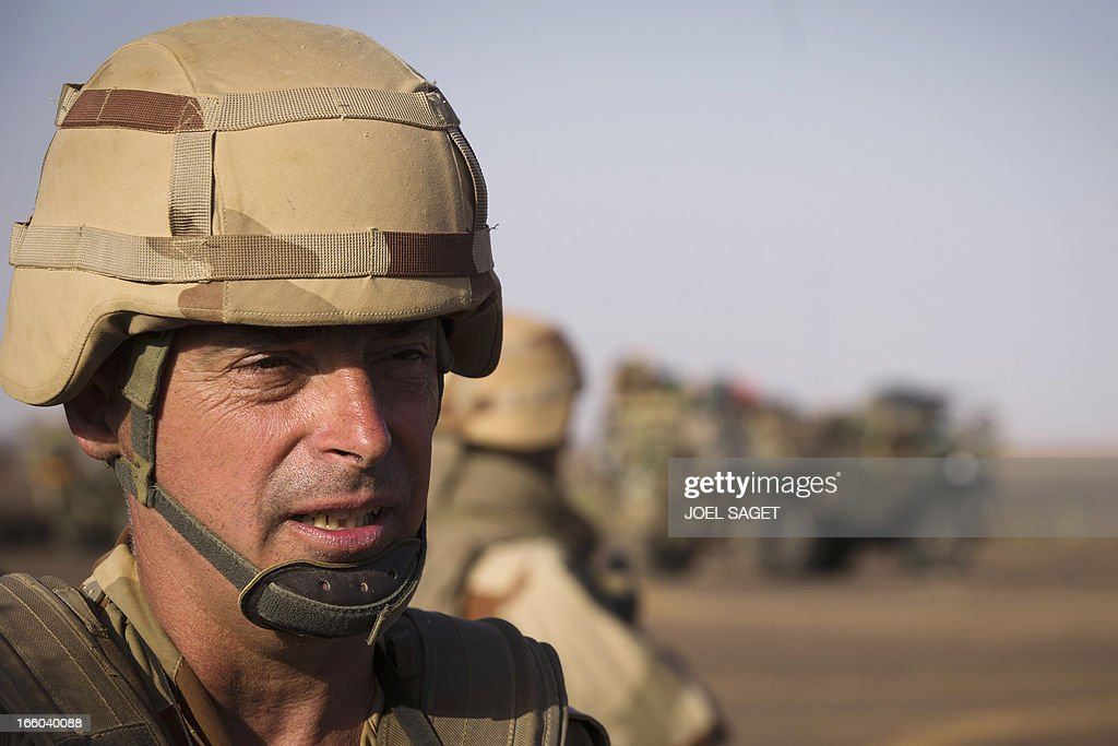 French general Bernard Barrera, chief of the Serval Forces in Mali, is pictured during the 'Gustav operation' on April 7, 2013, some 105 kilometers North of Gao. A French force of 1,000 soldiers has begun a sweep of a river valley thought to be a logistics base for armed Islamists near the Malian city of Gao, an AFP journalist accompanying the mission said. Operation Gustav, one of France's largest actions since its intervention against insurgents in January, will involve dozens of tanks, helicopters, drones and airplanes, said General Bernard Barrera, commander of the French land forces in Mali. AFP PHOTO / JOEL SAGET