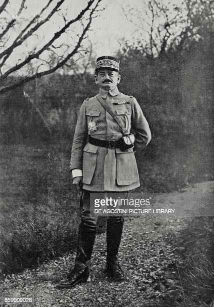 French General Charles Mangin commander of operations between Marne and Aisne France World War I from l'Illustrazione Italiana Year XLV No 30 July 28...