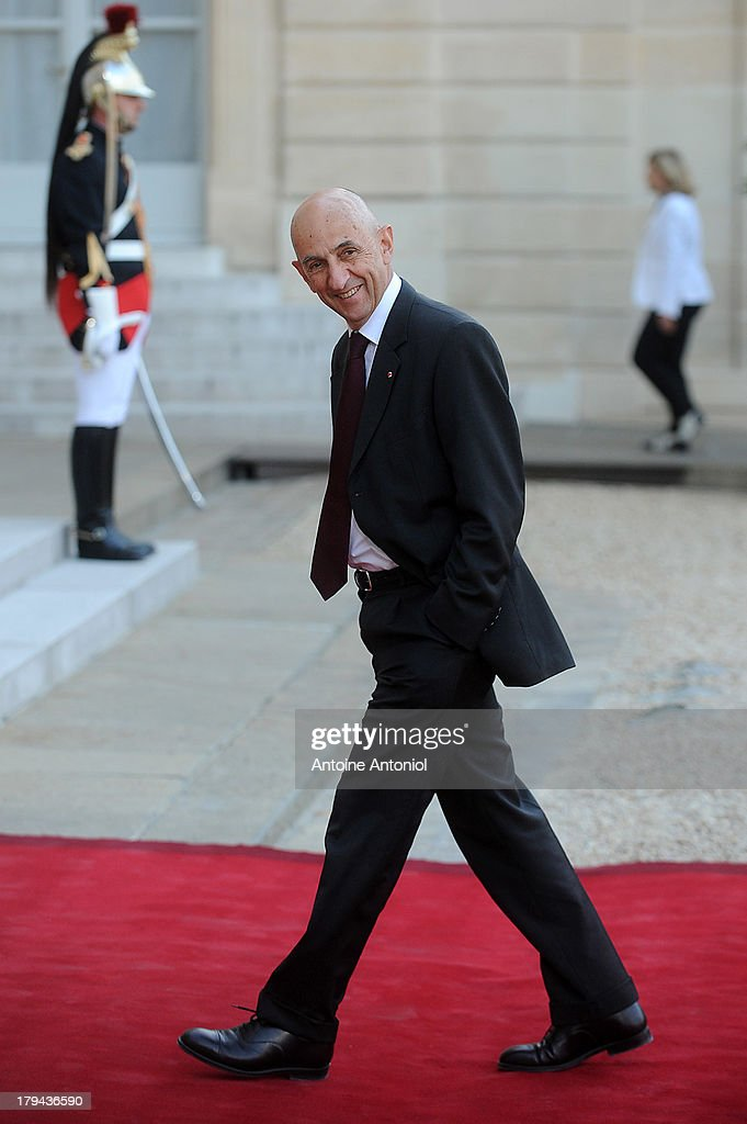 French general commissioner for Investment <a gi-track='captionPersonalityLinkClicked' href=/galleries/search?phrase=Louis+Gallois&family=editorial&specificpeople=752096 ng-click='$event.stopPropagation()'>Louis Gallois</a> arrives at the Elysee Palace for a state dinner on September 3, 2013 in Paris, France. The German President is in France for a 3 day state visit.