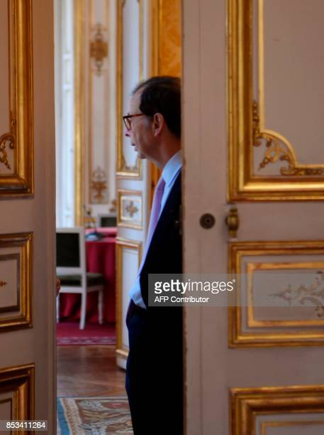 French general commissioner for Investment Louis Schweitzer looks on during a report on the Grand Investment Plan by French economist Jean...
