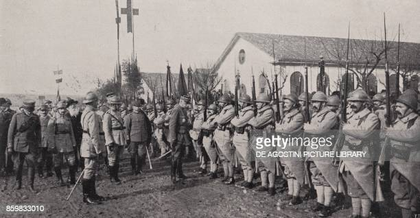 French General Favolle handing over the honours to Italian General Angelotti and French officers and soldiers Montebello Barracks Milan Italy World...