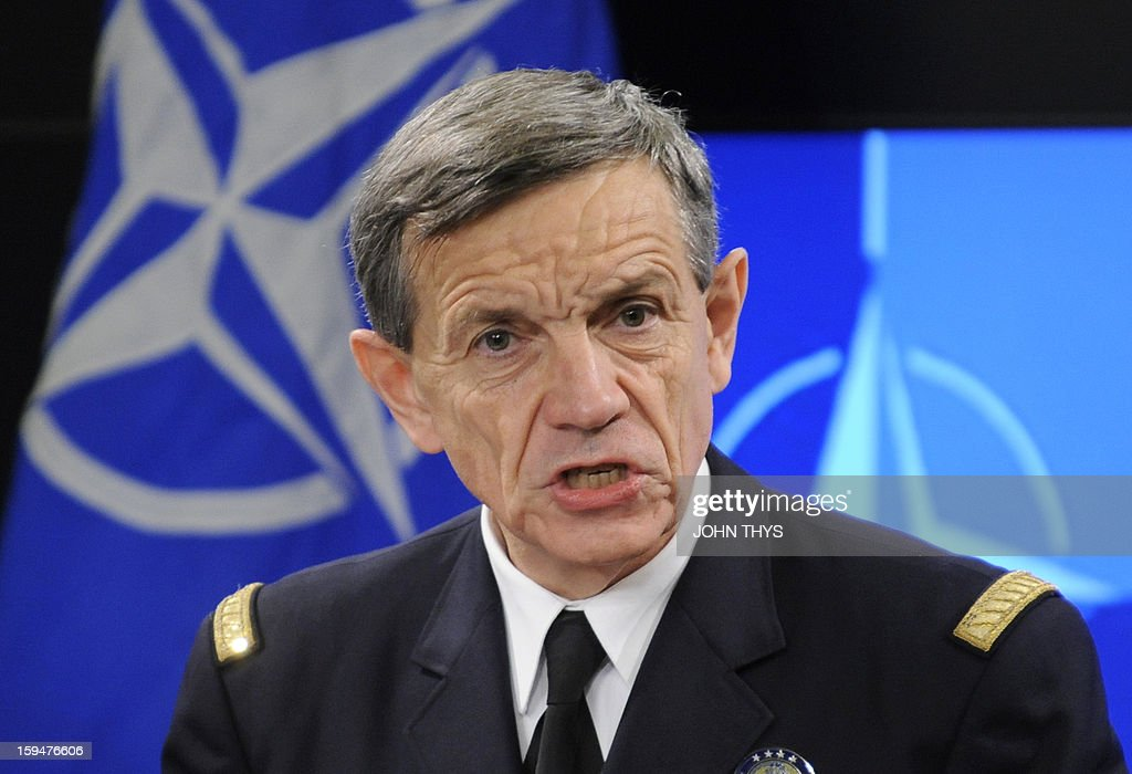 French General Jean-Paul Palomeros, NATO Supreme Allied Commander Transformation (SACT), speaks during a press conference in Brussels, on January 14, 2013. Palomeros took over as one of NATO's top commanders on September 28, 2012, facing the task of adapting the transatlantic alliance to new threats despite budget pressures. AFP PHOTO /JOHN THYS