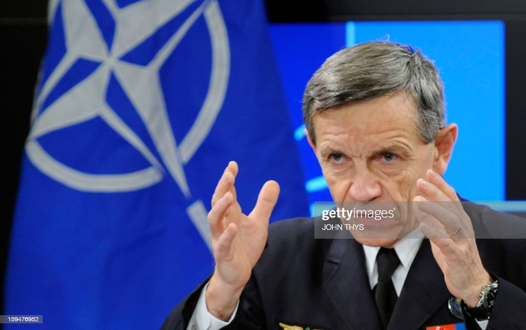 French General Jean-Paul Palomeros, NATO Supreme Allied Commander Transformation (SACT), speaks during a press conference in Brussels, on January 14, 2013. Palomeros took over as one of NATO's top commanders on September 28, 2012, facing the task of adapting the transatlantic alliance to new threats despite budget pressures.