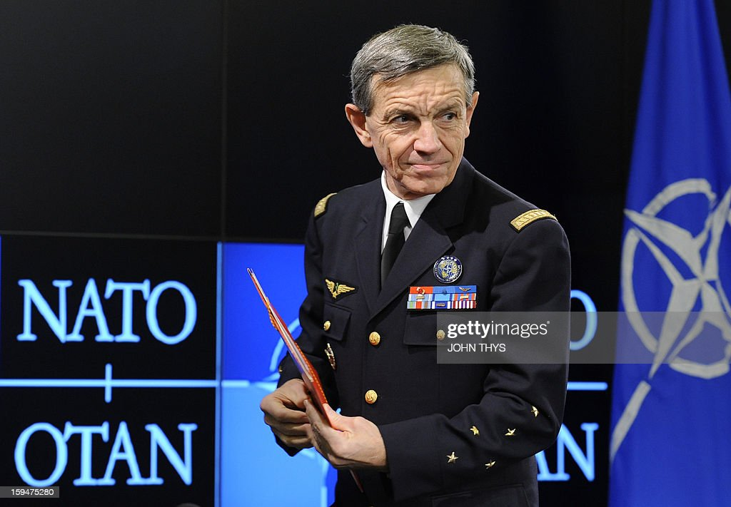 French General Jean-Paul Palomeros, NATO Supreme Allied Commander Transformation (SACT), looks on during a press conference in Brussels, on January 14, 2013. Palomeros took over as one of NATO's top commanders on September 28, 2012, facing the task of adapting the transatlantic alliance to new threats despite budget pressures.