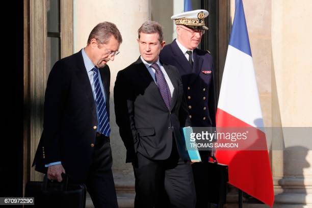 French General Secretary for Defence and National Security Louis Gautier leaves after a meeting of the Defense Council on April 21 2017 at the Elysee...
