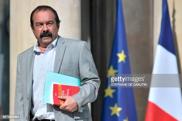 French General Secretary of the General Confederation of Labour union Philippe Martinez looks on as he arrives at the Elysee presidential Palace in...