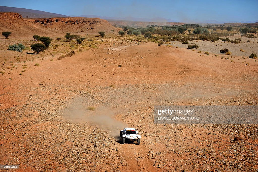 French Gilles Florin drives his buggy during the fourth stage (Mrhimina - Agadir) of the second edition of the Africa Race, on January 2, 2010. The Africa Race started on December 30, 2009 in Nador, Morocco, and continues over 11 days and 6,000 kilometres through Mauritania to lac Rose in Senegal.