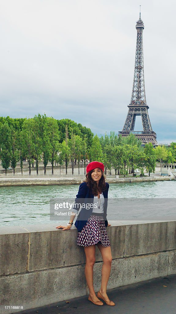 French Girl With Eiffel Tower In The Background Stock
